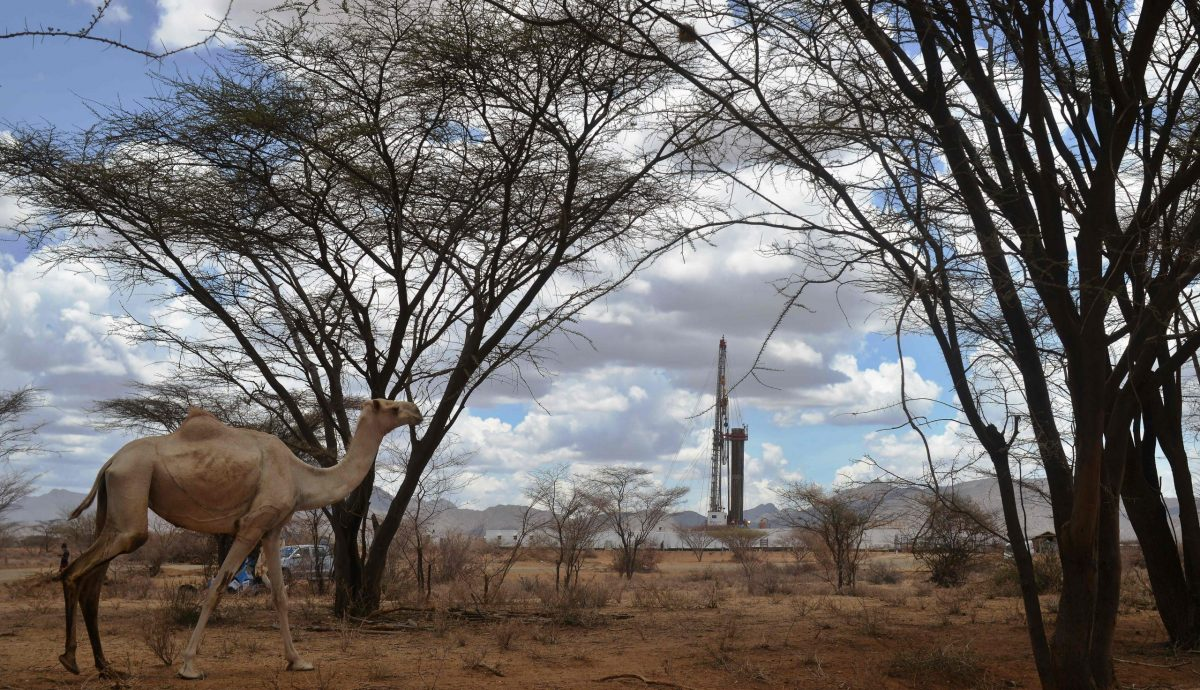 Picture taken on March 26, 2017, shows an oil drilling block managed by Tullow Oil at Lokichar basin in Turkana county. Five years after the discovery of oil, and four since a giant aquifer was found, drought has struck again, shattering the dreams of a different future for Turkana, a bone dry region of dust and stone, home to mostly semi-nomadic livestock herders and lacking the basic trappings of modernity. (Photo credit Tony Karumba/AFP via Getty Images)